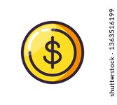 coin dollar isolated icon | Shutterstock .eps vector #1363516199