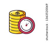 clock time with pile coins | Shutterstock .eps vector #1363520069