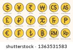 world currency symbol icons... | Shutterstock .eps vector #1363531583