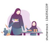 a muslim mother and daughter... | Shutterstock .eps vector #1363542239