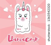 cute pink fluffy unicorn llama  ... | Shutterstock .eps vector #1363542320
