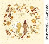 cartoon wedding invitation with ...   Shutterstock .eps vector #136354556