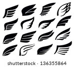 vector black wing icon set on... | Shutterstock .eps vector #136355864