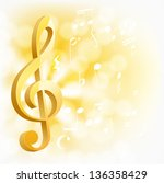 golden musical key with notes... | Shutterstock . vector #136358429