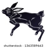 Stock vector agile black hare or rabbit running or jumping silhouette portrait ideal vintage background tattoo 1363589663