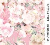 peonies watercolor seamless...   Shutterstock . vector #1363591106