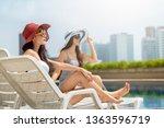 two beautiful young asian woman ... | Shutterstock . vector #1363596719