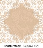 Vector white lace on texture, template.
