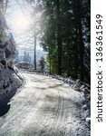 snowy winter road | Shutterstock . vector #136361549