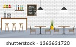 Stock vector cafe restaurant or cafeteria interior design with bar counter tables and chairs bar inside with 1363631720