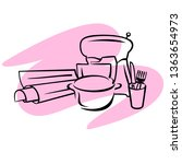 vector illustration with pastry ...   Shutterstock .eps vector #1363654973