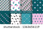 set of geometric seamless... | Shutterstock .eps vector #1363656119