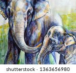 Watercolor Painting Elephant ...