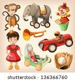 set of colorful vintage toys... | Shutterstock .eps vector #136366760