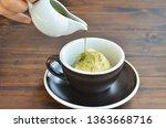 pouring green tea macchiato... | Shutterstock . vector #1363668716