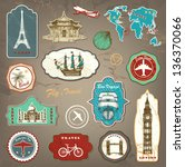 vintage travel labels with hand ... | Shutterstock .eps vector #136370066