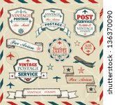 hand drawn vintage labels and... | Shutterstock .eps vector #136370090
