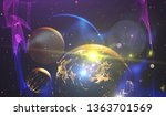 earth and stars from space.... | Shutterstock . vector #1363701569