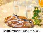 two glasses with champagne for... | Shutterstock . vector #1363745603