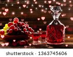 red tincture in a carafe on... | Shutterstock . vector #1363745606