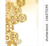 golden gears background | Shutterstock .eps vector #136375190
