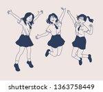 Jumping Schoolgirl Characters....