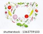 various fresh vegetables and... | Shutterstock . vector #1363759103