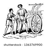 two greeks filling a vessel... | Shutterstock .eps vector #1363769900