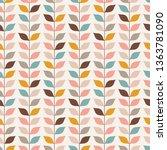 seamless retro vines leaves... | Shutterstock .eps vector #1363781090