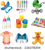 baby toys and things detailed... | Shutterstock .eps vector #136378304