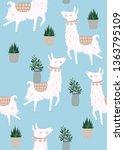 llama cartoon alpaca. llama... | Shutterstock .eps vector #1363795109