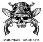 skull cowboy jolly rojer... | Shutterstock . vector #1363816346
