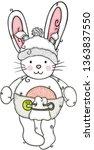 baby bunny with diaper and cap   Shutterstock .eps vector #1363837550