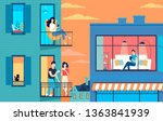 color city buildings with... | Shutterstock .eps vector #1363841939
