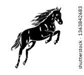 horse jumping  vector...   Shutterstock .eps vector #1363842683