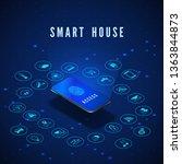 smart house banner. smartphone... | Shutterstock .eps vector #1363844873