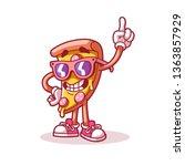 pizza points finger up. logo... | Shutterstock .eps vector #1363857929