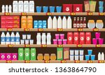 supermarket  shelf with food... | Shutterstock . vector #1363864790