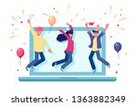 team celebrating successful... | Shutterstock .eps vector #1363882349