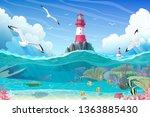vector cartoon lighthouse sea... | Shutterstock .eps vector #1363885430