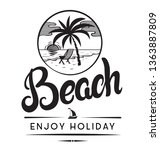 beach enjoy holiday emblems or...   Shutterstock .eps vector #1363887809