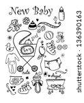 doodle hand drawn newborn... | Shutterstock .eps vector #136390163