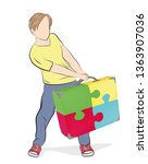man pulls a suitcase from... | Shutterstock .eps vector #1363907036