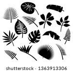 palm leaves and tropical plants ... | Shutterstock .eps vector #1363913306