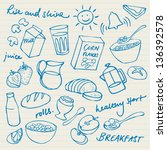 morning breakfast doodle vector ... | Shutterstock .eps vector #136392578