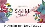 spring sale background with... | Shutterstock .eps vector #1363936133