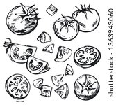 collection of hand drawn vector ... | Shutterstock .eps vector #1363943060