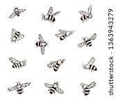 bees illustrations set | Shutterstock . vector #1363943279