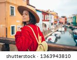 attractive woman in a straw hat ... | Shutterstock . vector #1363943810