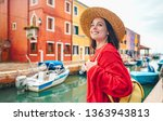 smiling beautiful girl in a... | Shutterstock . vector #1363943813
